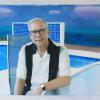 """Poolside,"" 2015 <br> Oil & digital collage on canvas, 60 x 40 inches <br> <br> Gary Burton (b.1943) is a legendary jazz vibraphonist, composer and jazz educator."